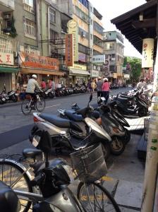Taipei scooters lining city street